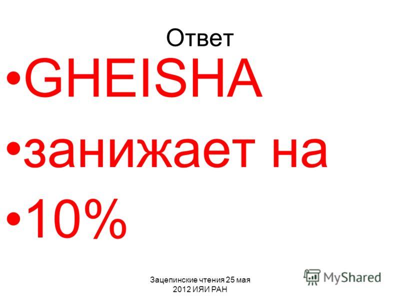 Зацепинские чтения 25 мая 2012 ИЯИ РАН Ответ GHEISHA занижает на 10%