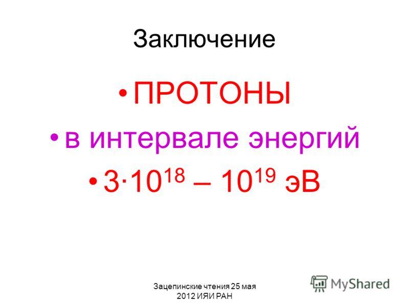 Зацепинские чтения 25 мая 2012 ИЯИ РАН Заключение ПРОТОНЫ в интервале энергий 310 18 – 10 19 эВ