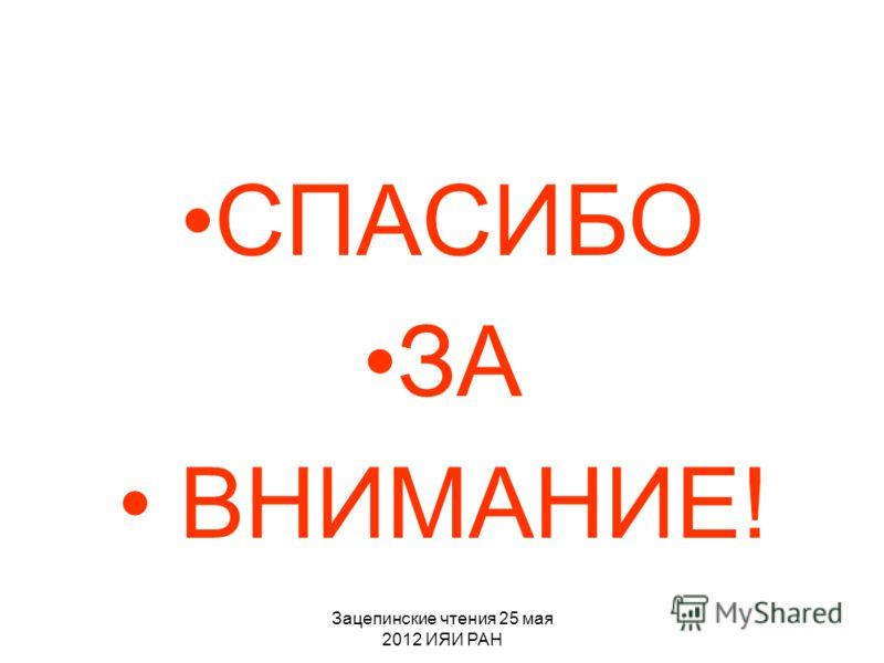 Зацепинские чтения 25 мая 2012 ИЯИ РАН СПАСИБО ЗА ВНИМАНИЕ!