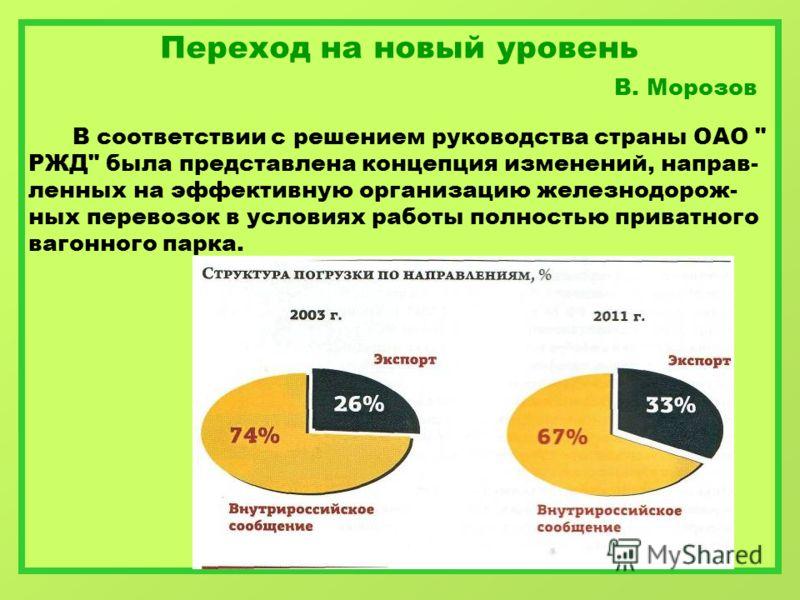 Переход на новый уровень В. Морозов В соответствии с решением руководства страны ОАО