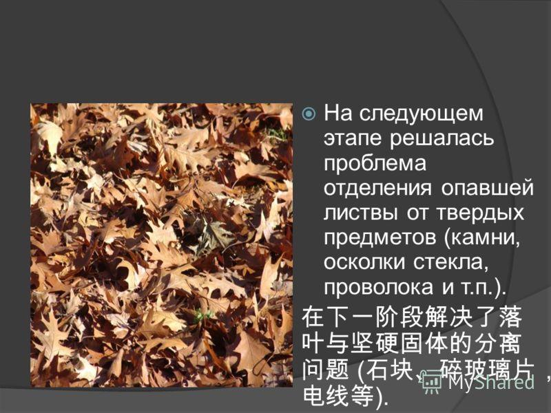На следующем этапе решалась проблема отделения опавшей листвы от твердых предметов (камни, осколки стекла, проволока и т.п.). ( ).