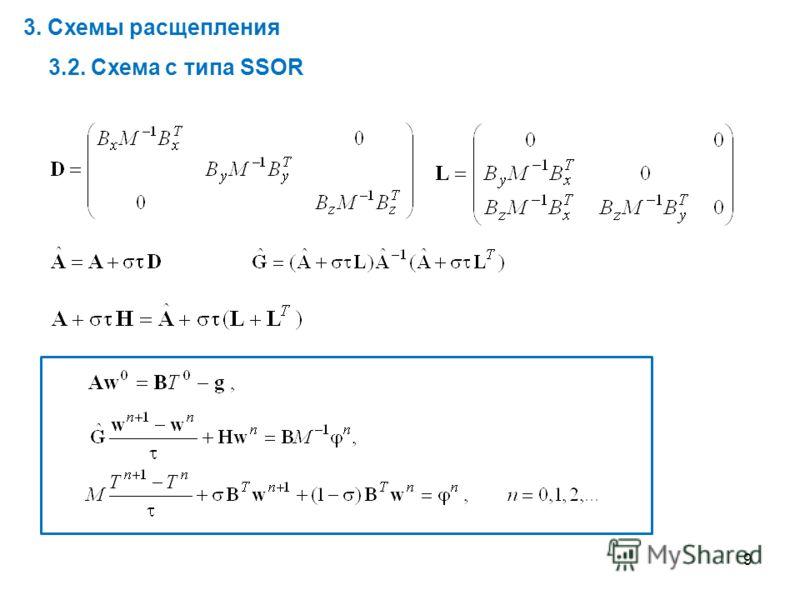 9 3. Схемы расщепления 3.2. Схема с типа SSOR