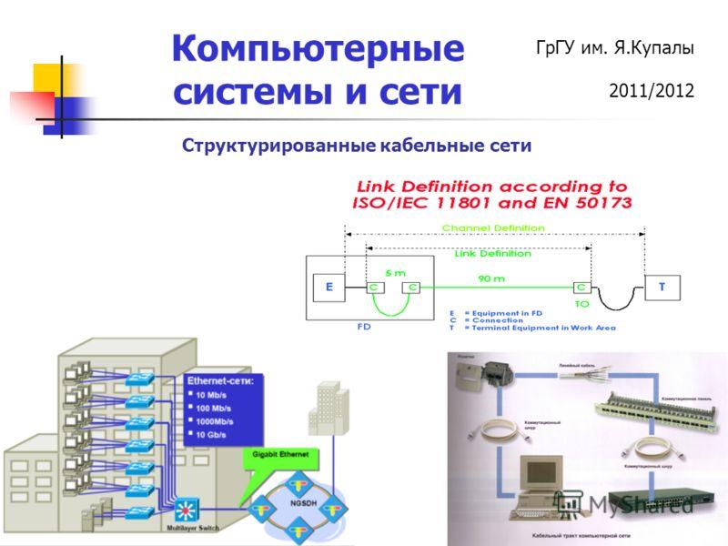 ГрГУ им. Я.Купалы 2011/2012 Компьютерные системы и сети Структурированные кабельные сети