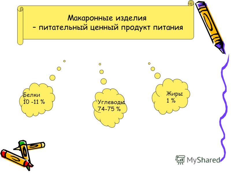 Макаронные изделия – питательный ценный продукт питания Белки 10 -11 % Углеводы 74-75 % Жиры 1 %