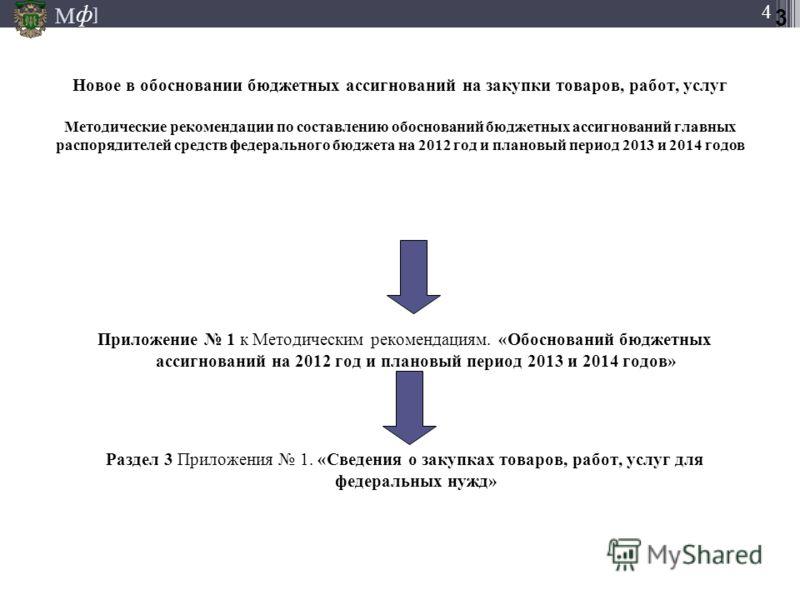М ] ф М ] ф 4 Новое в обосновании бюджетных ассигнований на закупки товаров, работ, услуг Методические рекомендации по составлению обоснований бюджетных ассигнований главных распорядителей средств федерального бюджета на 2012 год и плановый период 20