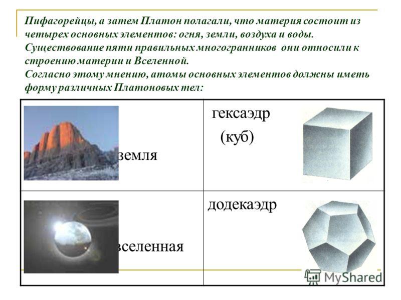 Пифагорейцы, а затем Платон полагали, что материя состоит из четырех основных элементов: огня, земли, воздуха и воды. Существование пяти правильных многогранников они относили к строению материи и Вселенной. Согласно этому мнению, атомы основных элем