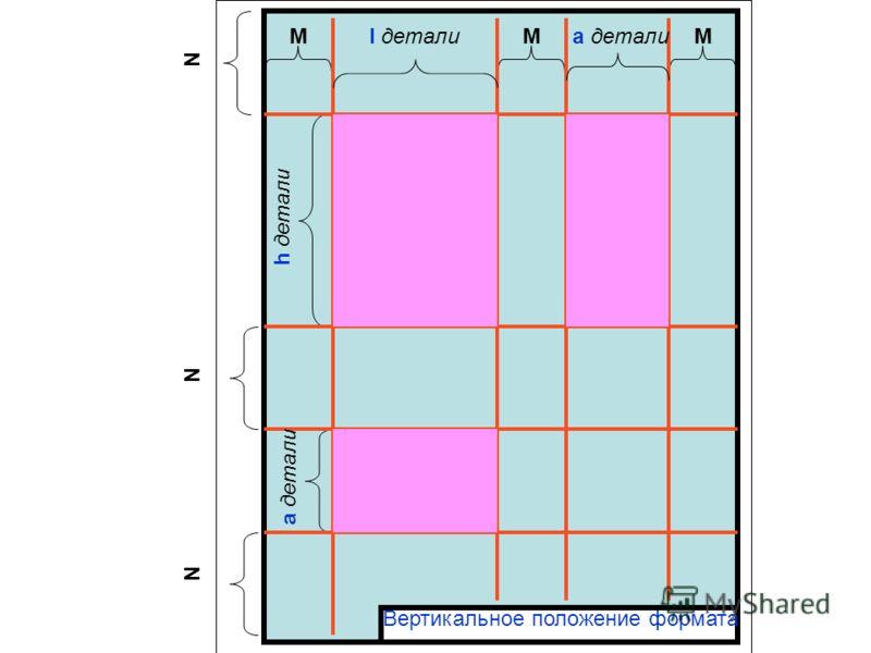 l деталиMMM N N N a детали h детали a детали Вертикальное положение формата