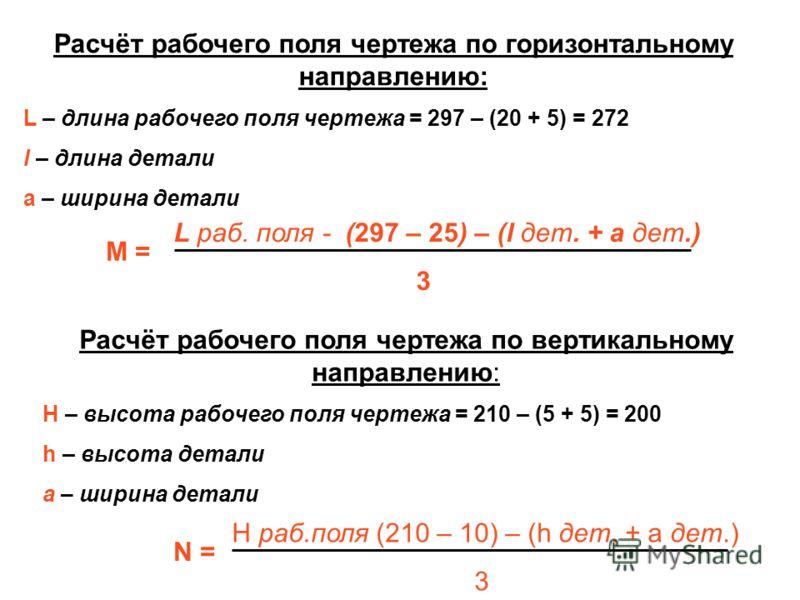 N = H раб.поля (210 – 10) – (h дет. + а дет.) 3 Расчёт рабочего поля чертежа по вертикальному направлению: H – высота рабочего поля чертежа = 210 – (5 + 5) = 200 h – высота детали а – ширина детали Расчёт рабочего поля чертежа по горизонтальному напр