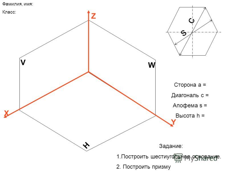 V H W Z X Y Сторона а = Диагональ с = Апофема s = Высота h = с s Фамилия, имя: Класс: Задание: 1.Построить шестиугольное основание. 2. Построить призму