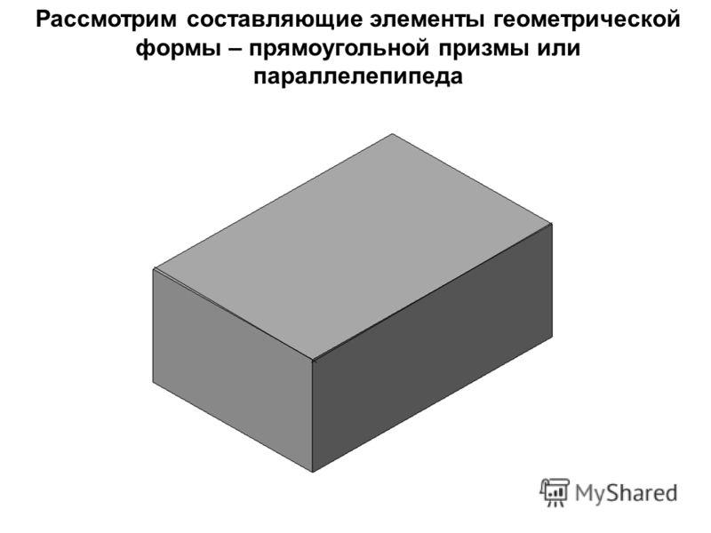 Рассмотрим составляющие элементы геометрической формы – прямоугольной призмы или параллелепипеда