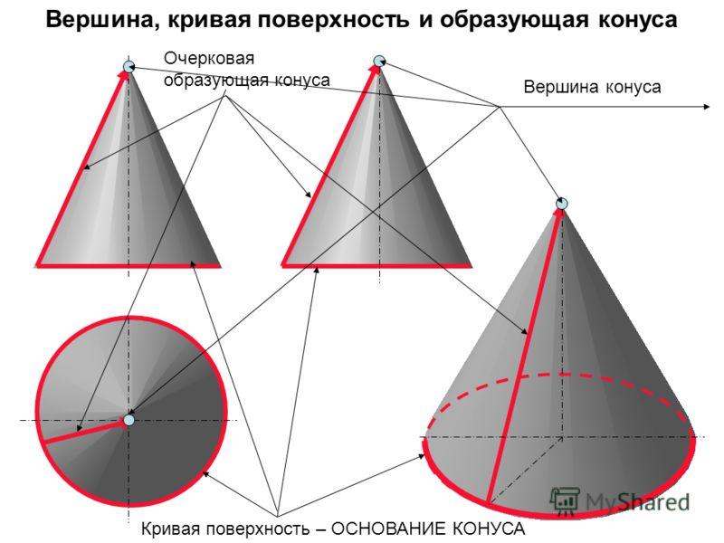 Кривая поверхность – ОСНОВАНИЕ КОНУСА Очерковая образующая конуса Вершина конуса Вершина, кривая поверхность и образующая конуса