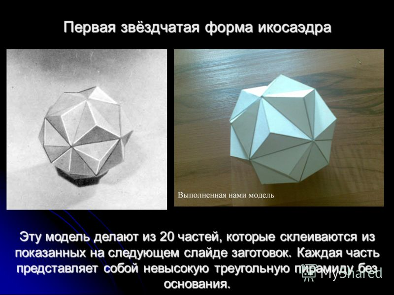 Первая звёздчатая форма икосаэдра Эту модель делают из 20 частей, которые склеиваются из показанных на следующем слайде заготовок. Каждая часть представляет собой невысокую треугольную пирамиду без основания.