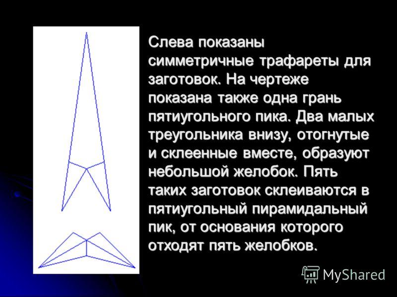 Слева показаны симметричные трафареты для заготовок. На чертеже показана также одна грань пятиугольного пика. Два малых треугольника внизу, отогнутые и склеенные вместе, образуют небольшой желобок. Пять таких заготовок склеиваются в пятиугольный пира