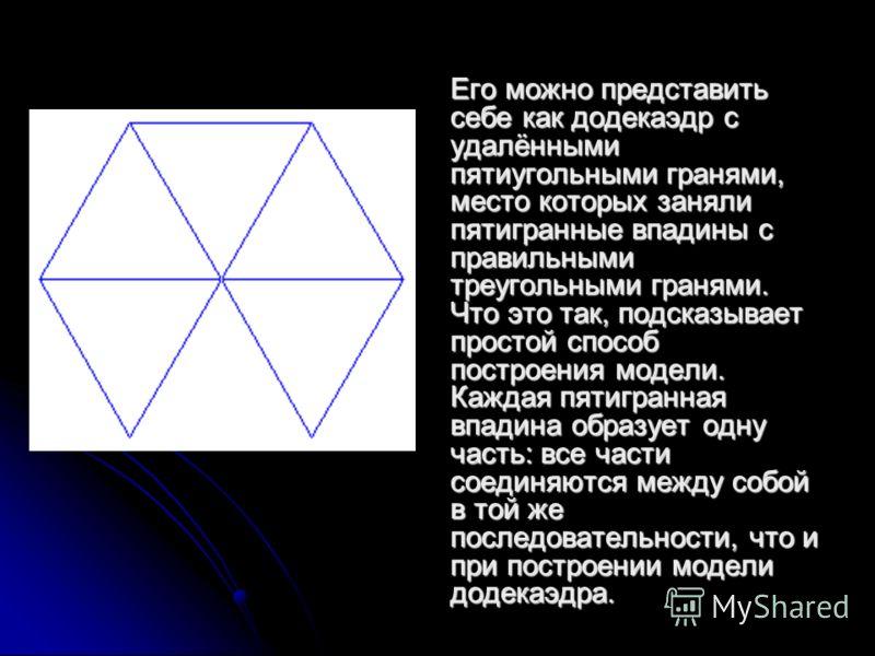 Его можно представить себе как додекаэдр с удалёнными пятиугольными гранями, место которых заняли пятигранные впадины с правильными треугольными гранями. Что это так, подсказывает простой способ построения модели. Каждая пятигранная впадина образует