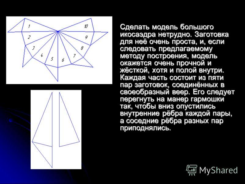 Сделать модель большого икосаэдра нетрудно. Заготовка для неё очень проста, и, если следовать предлагаемому методу построения, модель окажется очень прочной и жёсткой, хотя и полой внутри. Каждая часть состоит из пяти пар заготовок, соединённых в сво