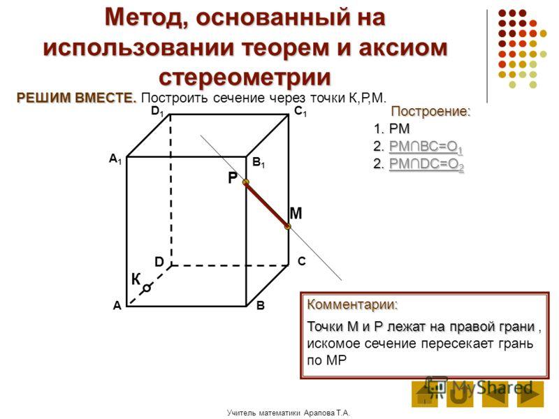 Учитель математики Арапова Т.А. Метод, основанный на использовании теорем и аксиом стереометрии Построение: АВ D1D1 D С А1А1 C1C1 В1В1 Комментарии: М К Р РЕШИМ ВМЕСТЕ. РЕШИМ ВМЕСТЕ. Построить сечение через точки К,Р,М. 1. РМ Точки М и Р лежат на прав