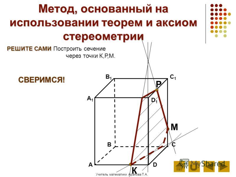 Учитель математики Арапова Т.А. Метод, основанный на использовании теорем и аксиом стереометрии РЕШИТЕ САМИ РЕШИТЕ САМИ Построить сечение через точки К,Р,М. АD В1В1 ВС А1А1 C1C1 D1D1 М К Р СВЕРИМСЯ!