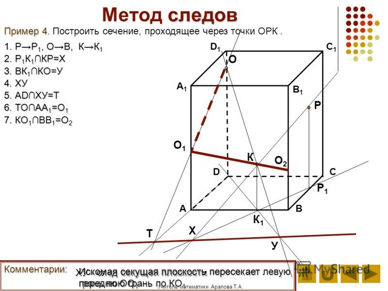 Учитель математики Арапова Т.А. следов Метод следов АВ D1D1 DС А1А1 C1C1 B1B1 Пример 4. Пример 4. Построить сечение, проходящее через точки ОРК. О К Р Комментарии: 1. РР 1, ОВ, КК 1 К1К1 Р1Р1 2. Р 1 К 1 КР=Х Х 3. ВК 1 КО=У У 4. ХУ ХУ - след секущей п