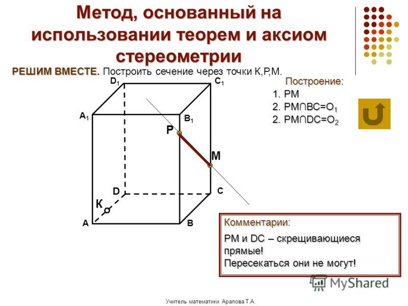Учитель математики Арапова Т.А. Метод, основанный на использовании теорем и аксиом стереометрии Построение: АВ D1D1 D С А1А1 C1C1 В1В1 Комментарии: М К Р РЕШИМ ВМЕСТЕ. РЕШИМ ВМЕСТЕ. Построить сечение через точки К,Р,М. 1. РМ РМ и DС – скрещивающиеся