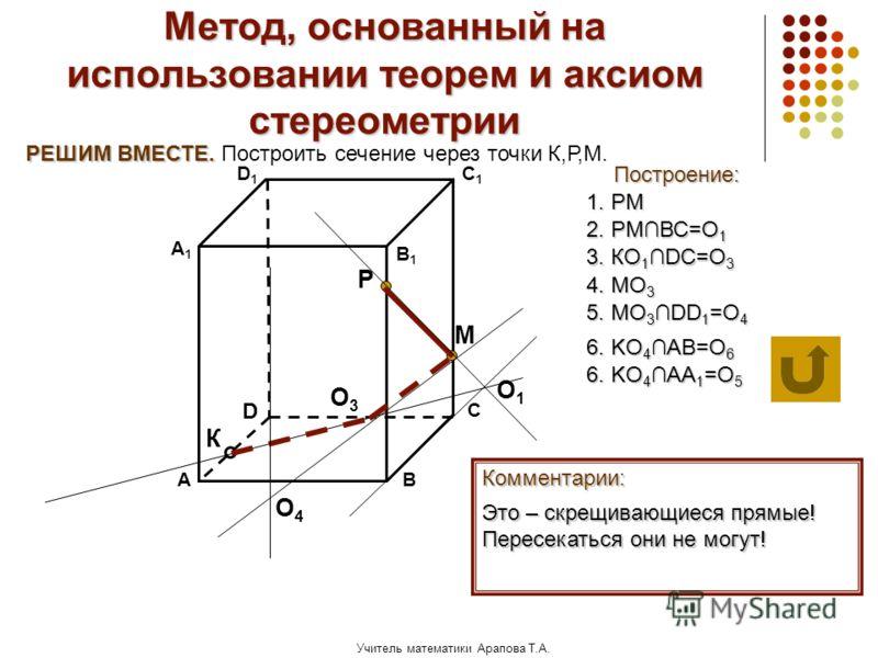 Учитель математики Арапова Т.А. Метод, основанный на использовании теорем и аксиом стереометрии Построение: АВ D1D1 D С А1А1 C1C1 В1В1 Комментарии: М К Р РЕШИМ ВМЕСТЕ. РЕШИМ ВМЕСТЕ. Построить сечение через точки К,Р,М. 1. РМ 2. РМВС=О 1 О1О1 3. КО 1D
