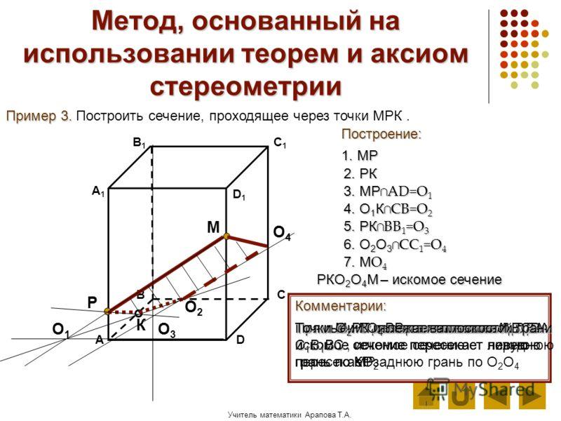 Учитель математики Арапова Т.А. Метод, основанный на использовании теорем и аксиом стереометрии Пример 3. Пример 3. Построить сечение, проходящее через точки МРК. Построение: АD В1В1 ВС А1А1 C1C1 D1D1 Комментарии: 1. МР Р К М Точки М и Р лежат в плос