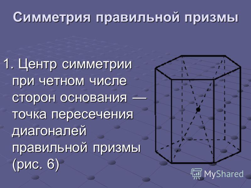 Симметрия правильной призмы 1. Центр симметрии при четном числе сторон основания точка пересечения диагоналей правильной призмы (рис. 6)