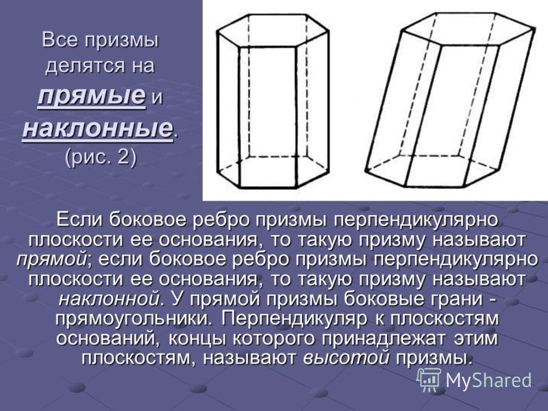 Все призмы делятся на прямые и наклонные. (рис. 2) Если боковое ребро призмы перпендикулярно плоскости ее основания, то такую призму называют прямой; если боковое ребро призмы перпендикулярно плоскости ее основания, то такую призму называют наклонной