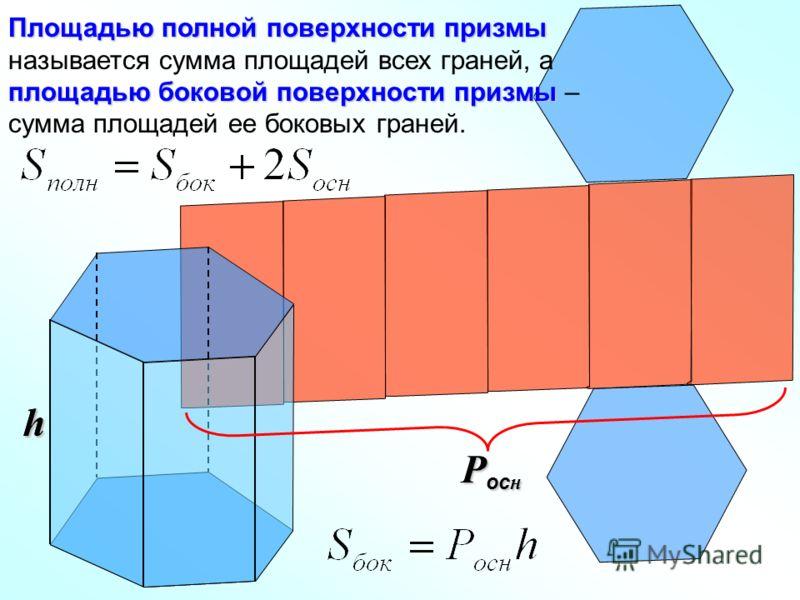 Площадью полной поверхности призмы площадью боковой поверхности призмы Площадью полной поверхности призмы называется сумма площадей всех граней, а площадью боковой поверхности призмы – сумма площадей ее боковых граней. hh P oc н