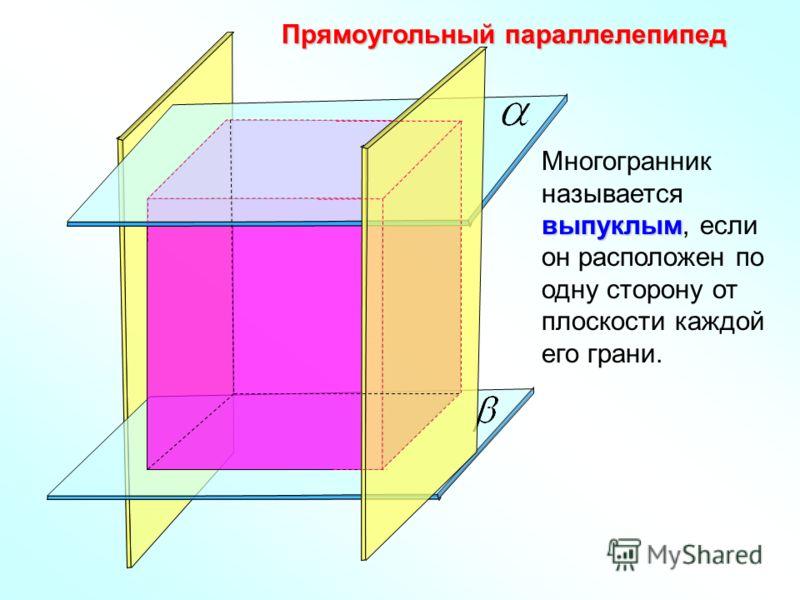 Прямоугольный параллелепипед выпуклым Многогранник называется выпуклым, если он расположен по одну сторону от плоскости каждой его грани.