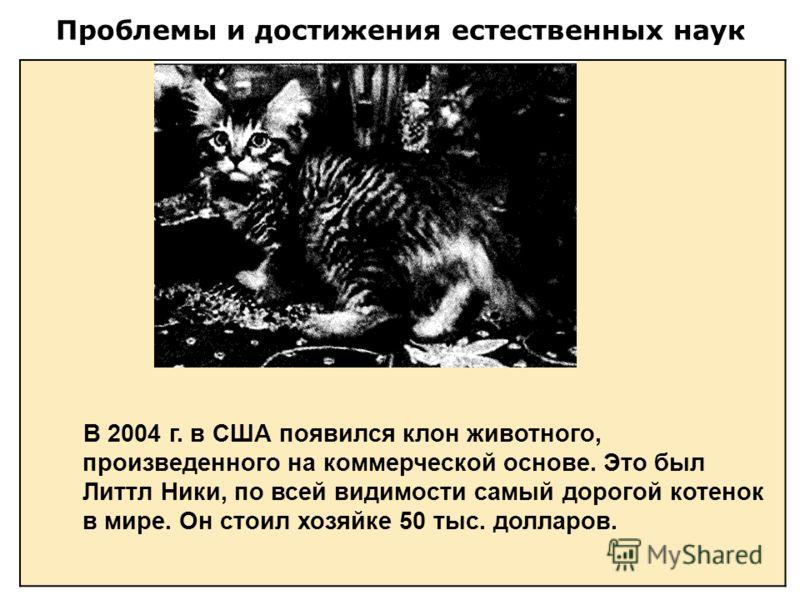 Проблемы и достижения естественных наук В 2004 г. в США появился клон животного, произведенного на коммерческой основе. Это был Литтл Ники, по всей видимости самый дорогой котенок в мире. Он стоил хозяйке 50 тыс. долларов.