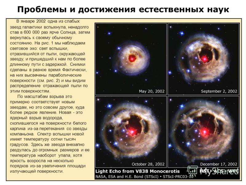 Проблемы и достижения естественных наук В январе 2002 одна из слабых звезд галактики вспыхнула, ненадолго став в 600 000 раз ярче Солнца, затем вернулась к своему обычному состоянию. На рис. 1 мы наблюдаем световое эхо: свет вспышки, отразившийся от
