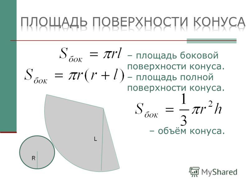 – площадь боковой поверхности конуса. – площадь полной поверхности конуса. – объём конуса. L R