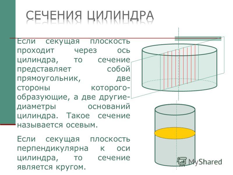 Если секущая плоскость проходит через ось цилиндра, то сечение представляет собой прямоугольник, две стороны которого- образующие, а две другие- диаметры оснований цилиндра. Такое сечение называется осевым. Если секущая плоскость перпендикулярна к ос