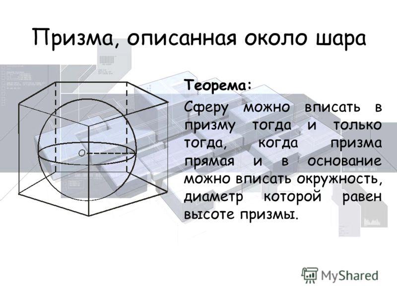 Призма, описанная около шара Теорема: Сферу можно вписать в призму тогда и только тогда, когда призма прямая и в основание можно вписать окружность, диаметр которой равен высоте призмы.