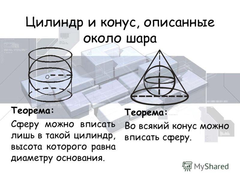 Цилиндр и конус, описанные около шара Теорема: Сферу можно вписать лишь в такой цилиндр, высота которого равна диаметру основания. Теорема: Во всякий конус можно вписать сферу.