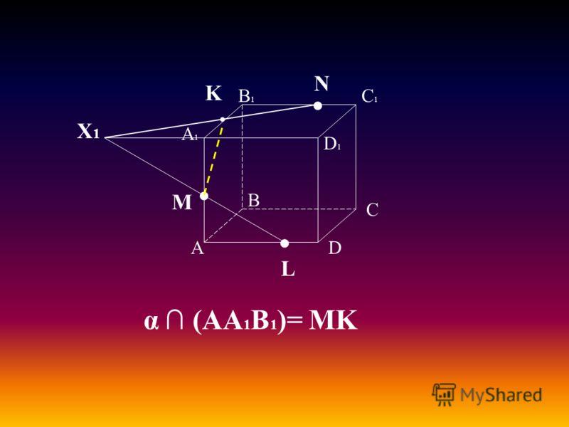 А В С D А1А1 D1D1 С1С1 В1В1 M L N Х1Х1 K α (АА 1 В 1 )= MK