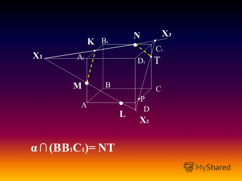 А В С D А1А1 D1D1 С1С1 В1В1 M L N Х1Х1 K Х2Х2 Х3Х3 α (BB 1 C 1 )= NT T P