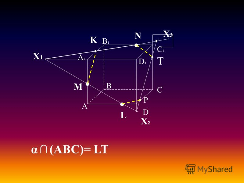 А В С D А1А1 D1D1 С1С1 В1В1 M L N Х1Х1 K Х2Х2 Х3Х3 α (ABC)= LT T P