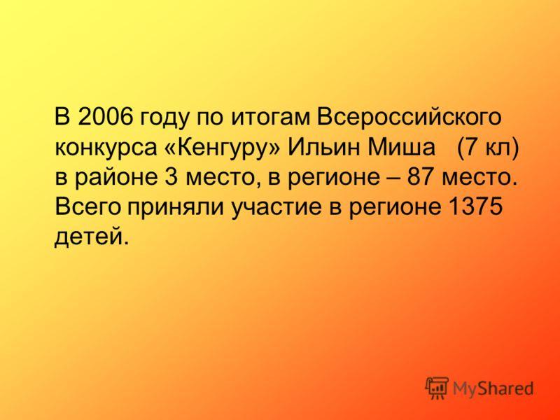В 2006 году по итогам Всероссийского конкурса «Кенгуру» Ильин Миша (7 кл) в районе 3 место, в регионе – 87 место. Всего приняли участие в регионе 1375 детей.