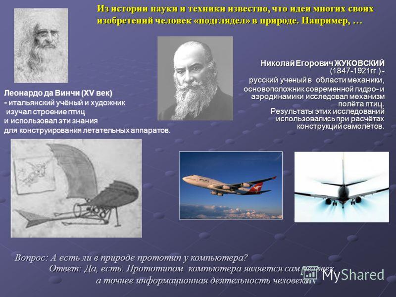 Из истории науки и техники известно, что идеи многих своих изобретений человек «подглядел» в природе. Например, … Николай Егорович ЖУКОВСКИЙ (1847-1921гг.) - русский ученый в области механики, основоположник современной гидро- и аэродинамики исследов