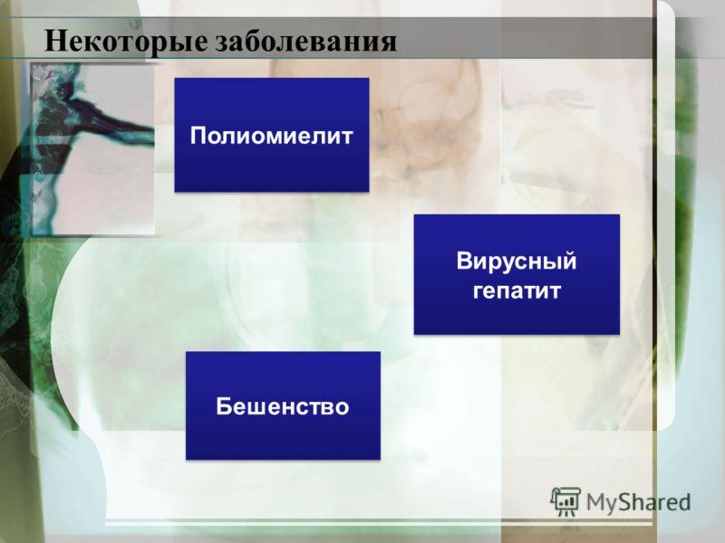 Некоторые заболевания Полиомиелит Вирусный гепатит Вирусный гепатит Бешенство