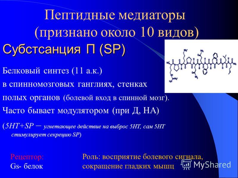 Субстсанция П (SP) Белковый синтез (11 а.к.) в спинномозговых ганглиях, стенках полых органов (болевой вход в спинной мозг). Часто бывает модулятором (при Д, НА) (5НТ+SP – угнетающее действие на выброс 5НТ, сам 5НТ стимулирует секрецию SP) Рецептор: