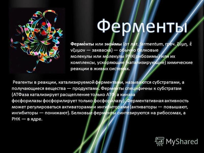 Ферме́нты или энзи́мы (от лат. fermentum, греч. ζύμη, νζυμον закваска) обычно белковые молекулы или молекулы РНК(рибозимы) или их комплексы, ускоряющие (катализирующие) химические реакции в живых системах. Реагенты в реакции, катализируемой ферментам