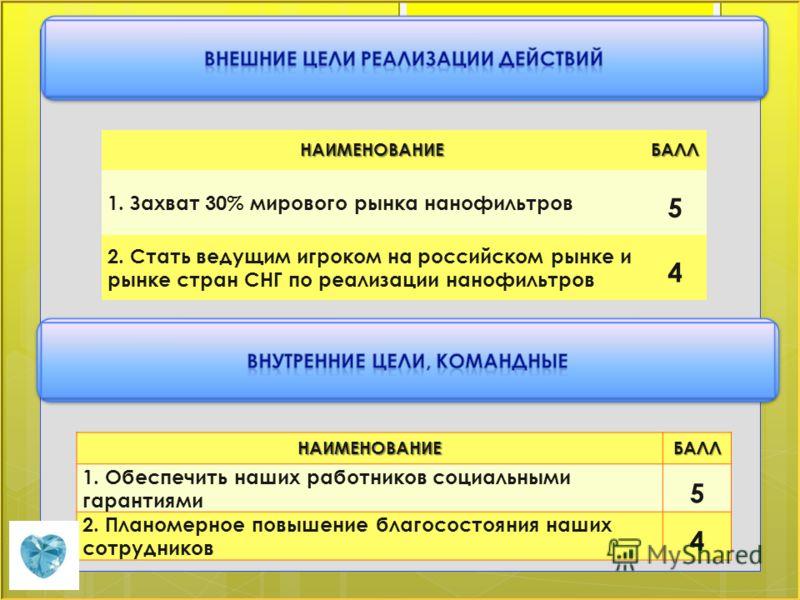 НАИМЕНОВАНИЕБАЛЛ 1. Захват 30% мирового рынка нанофильтров 5 2. Стать ведущим игроком на российском рынке и рынке стран СНГ по реализации нанофильтров 4 НАИМЕНОВАНИЕБАЛЛ 1. Обеспечить наших работников социальными гарантиями 5 2. Планомерное повышение