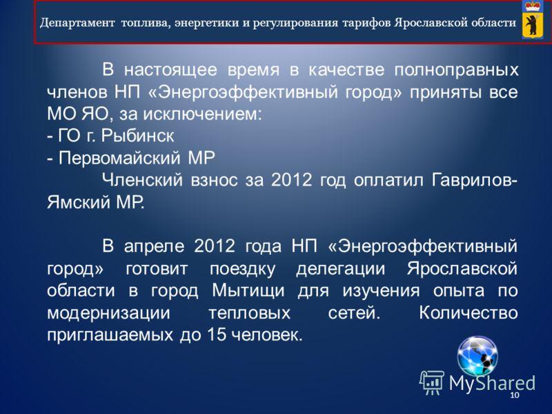 10 Департамент топлива, энергетики и регулирования тарифов Ярославской области В настоящее время в качестве полноправных членов НП «Энергоэффективный город» приняты все МО ЯО, за исключением: - ГО г. Рыбинск - Первомайский МР Членский взнос за 2012 г