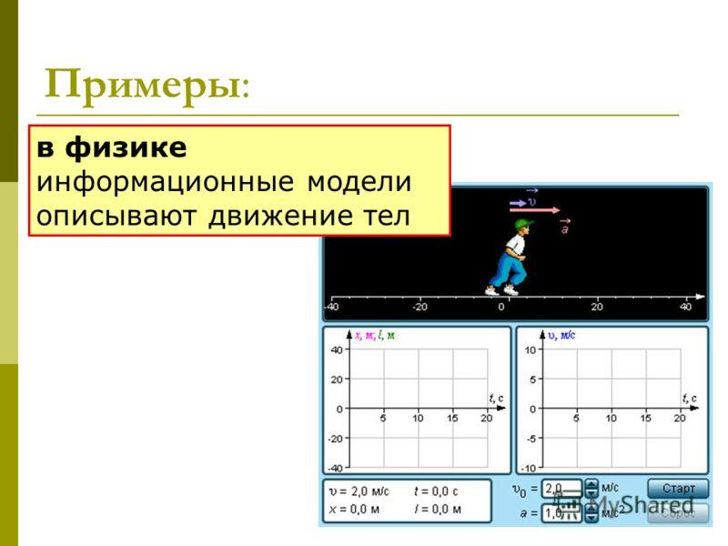 Примеры: в физике информационные модели описывают движение тел