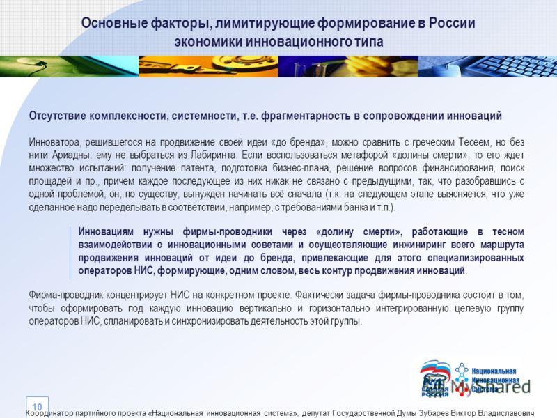 Основные факторы, лимитирующие формирование в России экономики инновационного типа Отсутствие комплексности, системности, т.е. фрагментарность в сопровождении инноваций Инноватора, решившегося на продвижение своей идеи «до бренда», можно сравнить с г
