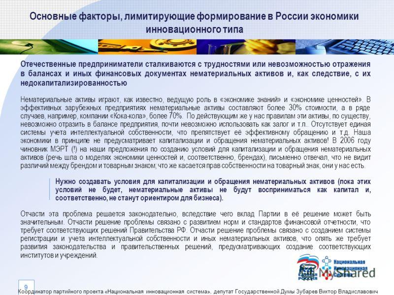Основные факторы, лимитирующие формирование в России экономики инновационного типа Отечественные предприниматели сталкиваются с трудностями или невозможностью отражения в балансах и иных финансовых документах нематериальных активов и, как следствие,