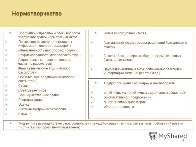 4 Нормотворчество Подгруппой определены блоки вопросов, требующие правок нормативных актов: Прозрачность, доступ инвесторов к информации (вопрос рассмотрен) Ответственность (вопрос рассмотрен) Аффилированность (вопрос рассмотрен) Акционерные соглашен