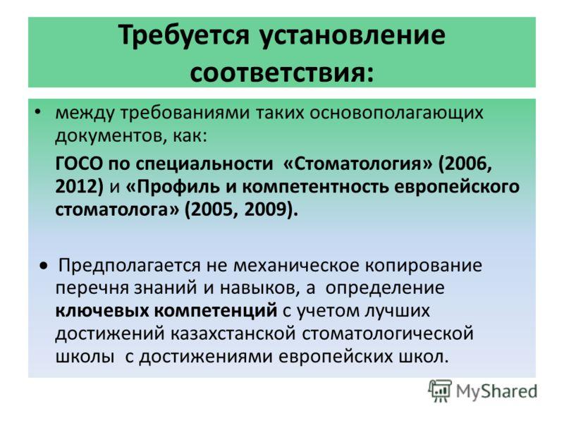 Требуется установление соответствия: между требованиями таких основополагающих документов, как: ГОСО по специальности «Стоматология» (2006, 2012) и «Профиль и компетентность европейского стоматолога» (2005, 2009). Предполагается не механическое копир